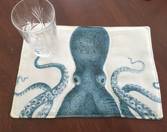 Octopus mug rug, snack mat, aqua and cream,Steampunk theme, Spoonflower fabrics, quilted, 12 by 8 inches