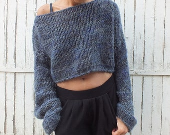 Cropped sweater Denim blue sweater Women mohair sweater Handknit  sweater Soft wool sweater Oversized soft sweater