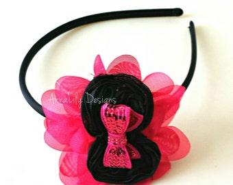 Hot Pink & Black Flower Hard Headband