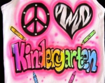 airbrushed peace zebra heart rainbow kindergarten crayons airbrushed shirt