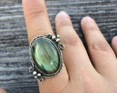 Labradorite statement ring