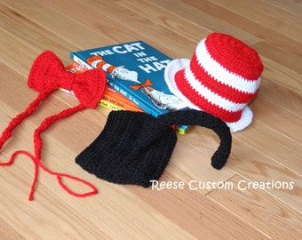 Crochet Cat in The Hat Newborn Baby Boy Photo Prop Outfit- Crochet Dr. Seuss outfit. 3 Week Lead Time