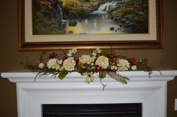 items similar to mantle swag floral swag swag fireplace swag bathroom swag picture