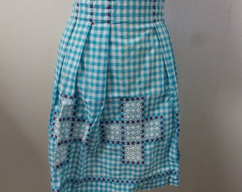 Adorable Blue Ghingham Checked Handmade Apron with Embroidery design and Pleated Waist