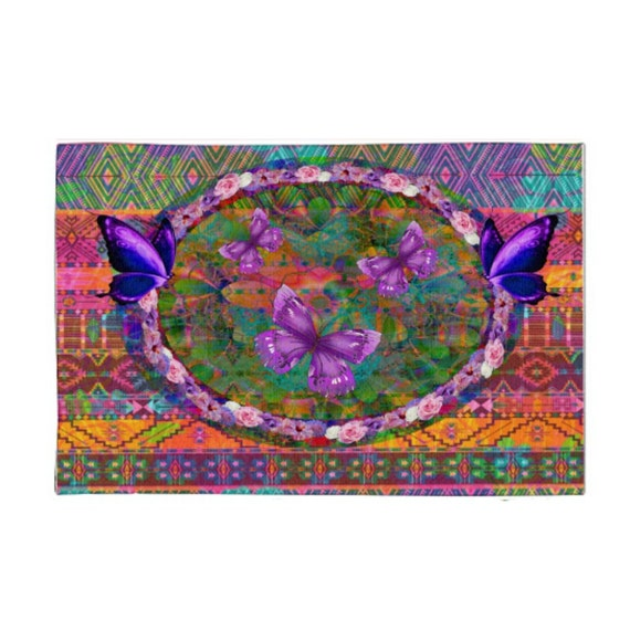 bohemian butterfly area rug throw rugs pink purple blue multi. Black Bedroom Furniture Sets. Home Design Ideas