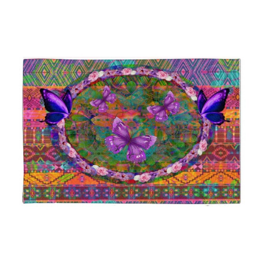 Bohemian Butterfly Area Rug Throw Rugs Pink Purple Blue Multi