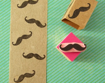 Mustache stamp, Movember rubber stamp, mini mustache, hipster decor, hand carved stamp, Movember