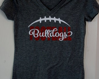 Bulldog t shirt etsy for Football team t shirt designs