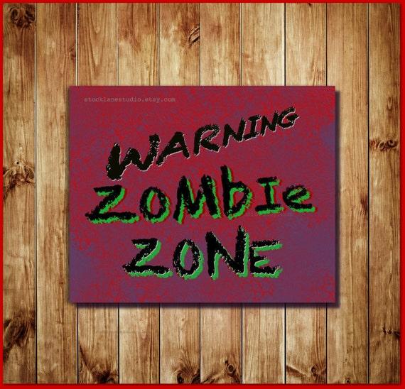 Items similar to printable zombie teen room decor warning for Zombie room decor
