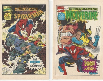 Vintage Marvel Set of 2 (#1 and #2) Drake's Snack Cakes Mini Comic Books