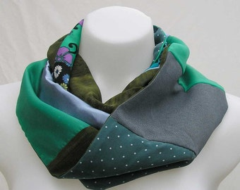 Infinity scarf, woman's scarf, upcycled scarf, blue green scarf, refashioned scarf, boho scarf, bohemian scarf, summer scarf, spring scarf