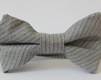 Gray herringbone bow tie with adjustable velcro closure, baby, boy