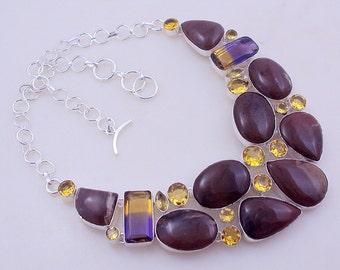 free shipping F-133 Stunning Ametrine-Citrine-Jasper .925 Silver  Necklace Jewelry