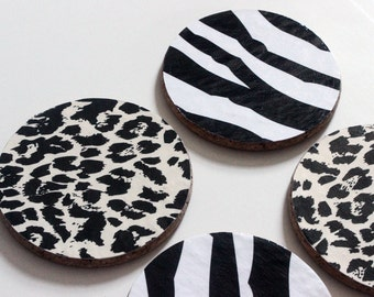 Leopard Spots and Zebra Stripes Cork Coasters - Hand Decorated