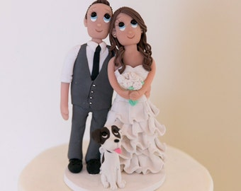 Custom Classic Wedding Cake Topper with Small Dog