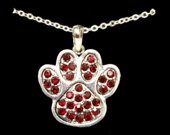 Red Paw Print Necklace