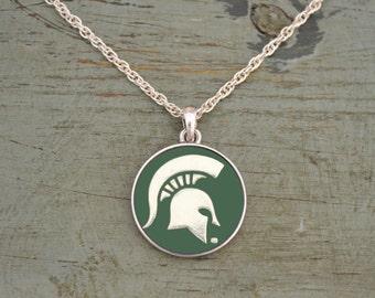 Michigan State Spartans Iridescent Round Necklace