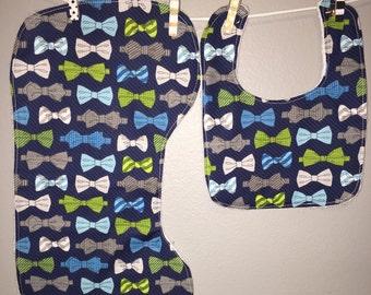 Bow Tie Gift Set Bib, Burp Cloth