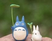 Lot 2pcs My Neighbor Totoro Studio Ghibli Miniature terrarium Figurine, vinyl pendant, phone charm, Fairy Garden DIY craft supply