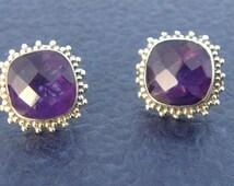 Amethyst Stud Earrings/Sterling Silver Amethyst Earrings/ Purple Gemstone Earrings  AG-103
