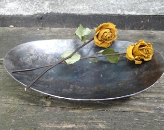 Oval hand forged bowl - 6th iron anniversary - 11th steel anniversary - blacksmith made engraved - couples wedding gift - girlfriend gift