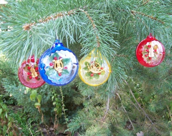 Retyro 1970's Funky Plastic Christmas Ornaments with Instruments Inside