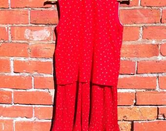 Red dress, red vintage dress, pleated dress, floral dress, vintage 70s dress, size 8-10 Aus/UK, red printed dress, boat neck dress, 70s