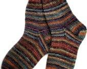 Wool socks Hand knitted socks Warm socks from sock yarn with kid mohair Multicolored striped socks Sleeping socks Natural socks Gift 2015