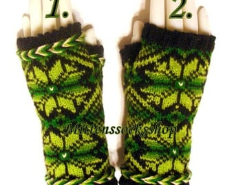 Green Black Hand Knit Fingerless Gloves Women's Fingerless Gloves Wrist Warmers Hand Warmers Arm Warmers Hand Knit Wool Fingerless Mittens