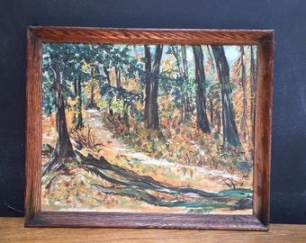 Midcentury Woodland Scene Weber Art School Student Painting