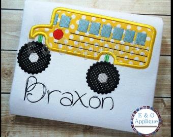 Monster Bus Applique - Back to School Applique - School Bus Applique Design - Monster Truck Applique Design