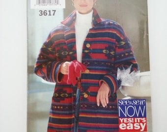 90s jacket /Winter /plus size /button down jacket 1994 vintage sewing pattern, Sizes 16 18 20 22, Bust 38 40 42 44, Butterick See & Sew 3617