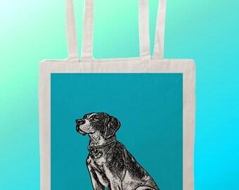 blue Dog Bowtie - Reuseable Shopping Cotton Canvas Tote Bag