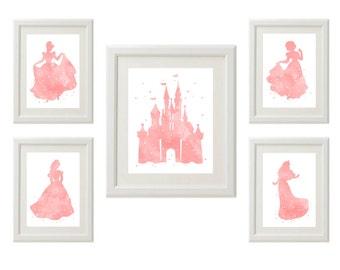 Disney Princess Cinderella, Sleeping Beauty, Belle, Snow White, Castle Watercolor silhouette, Pink, Set of 5, 1-8х10, 4-5x7 instant download