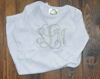 Monogrammed baby gown - personalized girl coming home outfit
