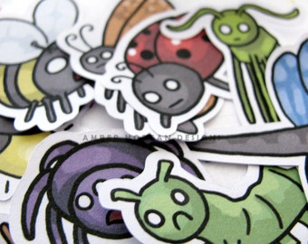 Bug Stickers, Paper Stickers, Journaling, Sticker Flakes, Funny Insects, Stationery, Scrapbooking, Cute Bugs, Spider, Caterpillar, Bee, Ant