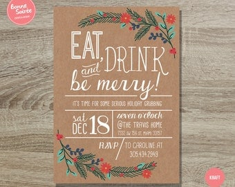 Eat, Drink and Be Merry Christmas Party Invitation // 5x7 Holiday Party Invitation - Rustic Holiday Invite - Festive Holiday Party Invite