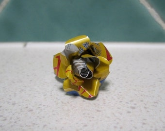 Recycled Soda/Soft Drink Can Rose Ring - Adjustable - Yellow