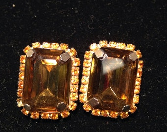 Topaz Rhinestone Clip On Earrings
