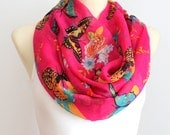 Butterfly Print Scarf - Butterfly Infinity Scarf - Unique Fabric Infinity Scarf - Pink Fashion Scarf - Women Accessories - Gift Idea