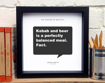 Kebab And Beer Print; 18th Birthday Gift; Boyfriend Gift; Teen Boy Gift; Funny Gift; AP102
