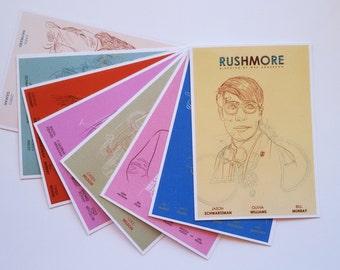 collection de cartes postales des films de Wes Anderson