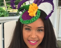 MARDI GRAS FASCINATOR! Carnival hat, Mardi Gras party hat-Purple Suede Fascinator-New Orleans Party Hat-Purple Feathers-Purple Green Yellow