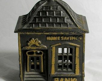 The HOME SAVINGS BANK by the J.E. Stevens Co.; a Vintage Cast Iron Bank