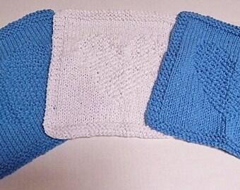 Blue Dishcloths, Cotton Blend Dishcloths, Knit Dishcloths, White Dishcloths, Heart Dishcloths, Knitted Dishcloths, Hand Knit Dishcloths