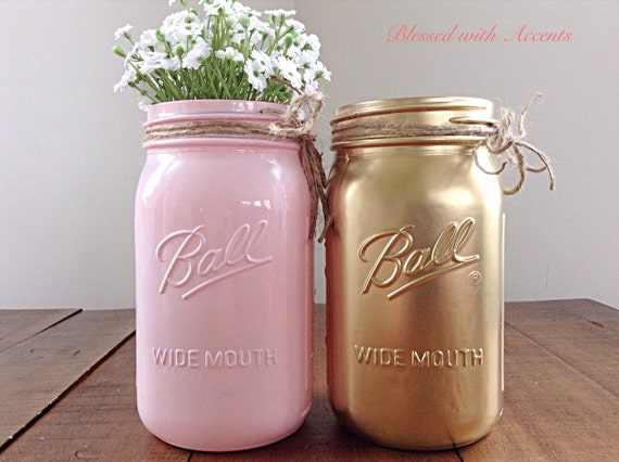 pink and gold mason jar set pink and gold by