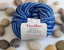 Cotton yarn - VARIEGATED BLUE - 100% mercerized cotton yarn for knitting and crochet by Unitas - 50g/142m - Color number 508