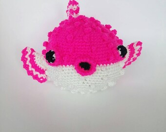 Pink and White Puffer Fish Luxury Crochet Soft Toy Stuffed Animal Plushie