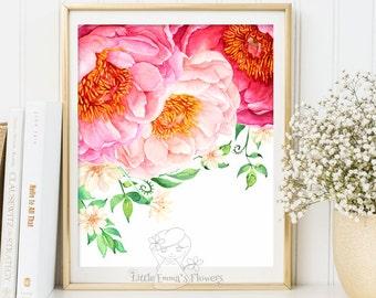 Nursery wall art Printable Decor with flower illustration nursery decoration nursery flower print garden flower instant download ID3-38