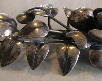 Large Sterling Silver Flower Brooch